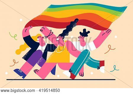 Lgbtq Community Concept. Happy Young People With Lgbt Rainbow Flag Running Together And Smiling Vect