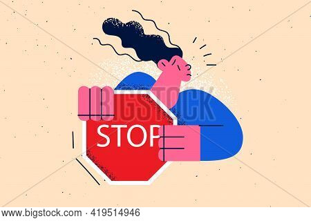 Stop Sign, Refusal, Warning Concept. Young Frustrated Woman Cartoon Character Standing Holding Red T