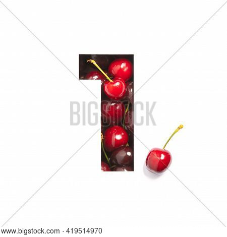 Number One Of Cherries And Paper Cut In Shape Of First Numeral Isolated On White. Natural Typeface O