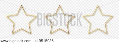 Set Of Three Gold Glowing Star Shape Frames Isolated On Transparent Background. Shiny Frame With Glo