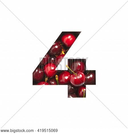 Number Four Made Of Cherries And Paper Cut In Shape Of Fourth Numeral Isolated On White. Typeface Of