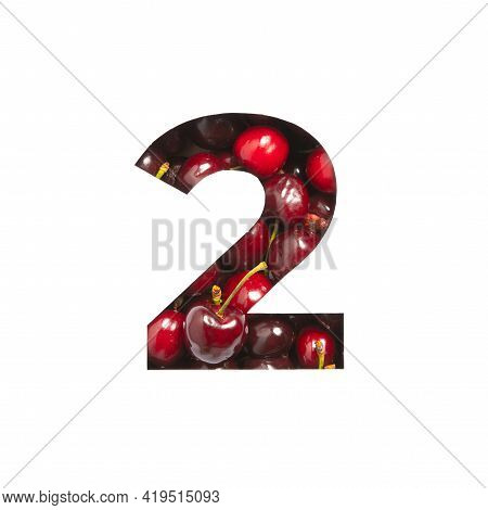 Number Two Made Of Cherries And Paper Cut In Shape Of Second Numeral Isolated On White. Typeface Of