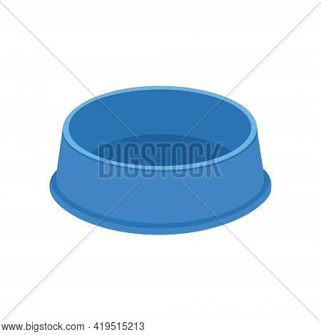 Empty Dog Or Cat Food Bowl. Blue Pet Plastic Plate For Kibble Or Water Isolated On White Background.