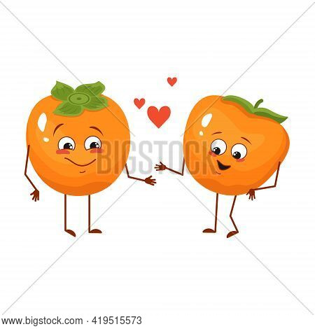 Cute Persimmon Characters With Love Emotions, Face, Arms And Legs. The Funny Or Happy Food Heroes, F