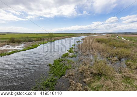Bialosliwe, Wielkopolskie / Poland - May, 5, 2021: View Of The Notec River From The Road Bridge A La