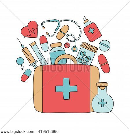 First Aid Kit With Drugs Vector Hand Drawn, Medical Box, Emergency Suitcase, Doctor Tools Isolated O