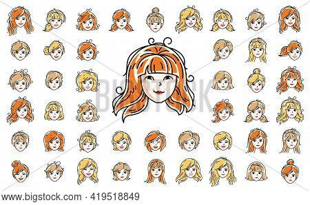Pretty Woman Faces And Hairstyles Heads Vector Illustrations Set Isolated On White Background, Girl