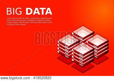 Mainframe, Powered Server, High Technology Concept, Data Center, Cloud Data Storage Isometric