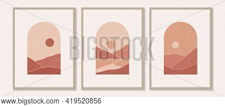 Contemporary Modern Minimalist Abstract Mountain Landscapes Aesthetic Illustrations