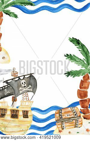 Watercolor Pirate Greeting Card For Parties And Birthday Parties. For Printing. Childrens Birthday P