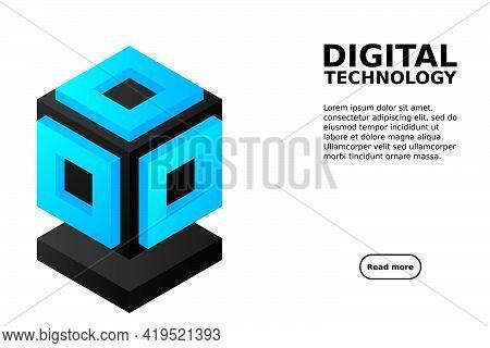Server. Digital Space. Data Storage. Data Center. Big Date. Conceptual Illustration, Data Flow