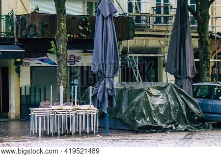 Reims France May 05, 2021 Business Closed By The Government Following The Coronavirus Pandemic Affec