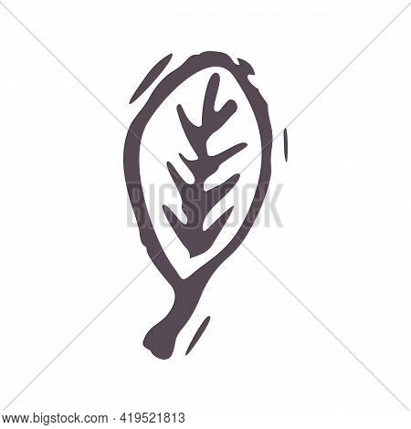 Hand Carved Bold Block Print Leaf Icon Clip Art. Folk Illustration Design Element. Modern Boho Decor