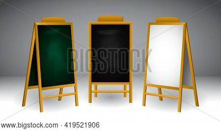 Set Of Realistic Wooden Easel Or Wood Easels Painting Or Art Boards Canvas In Different Size Dimensi