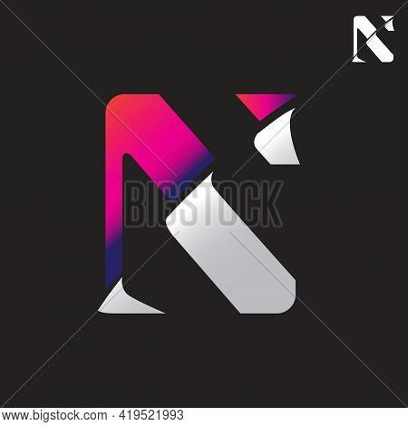 Ns Monogram Logo. Letter Based, Vector The S Is Being Peeled Off, To Reveal The N
