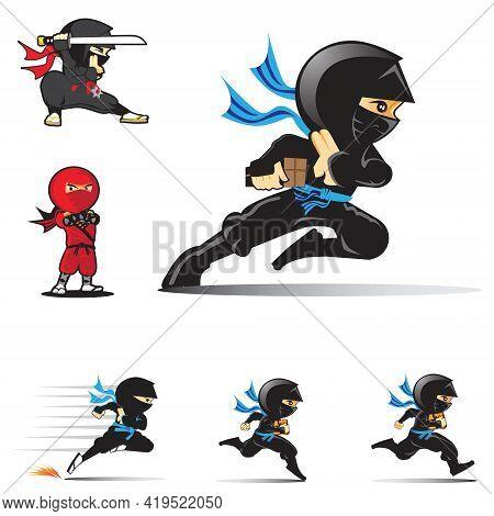 Ninja Logo Set Vector Illustrations For Logo, Design Element Or Any Other Purpose.
