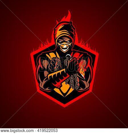 Fire Ninja Vector Illustration Symbol Insignia, E-sport Style Emblem.