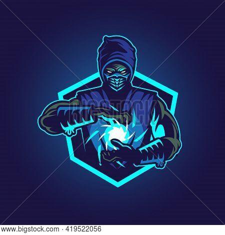 Ice Blue Ninja Vector Illustration Symbol Insignia E-port Style Emblem.