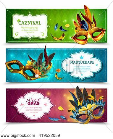 Masquerade Realistic Horizontal Banners Set With Carnival Symbols Isolated Vector Illustration