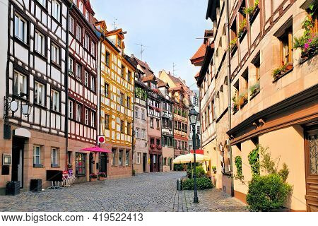 Beautiful Street Of Half Timbered Houses In The Old Town Of Nuremberg, Bavaria, Germany