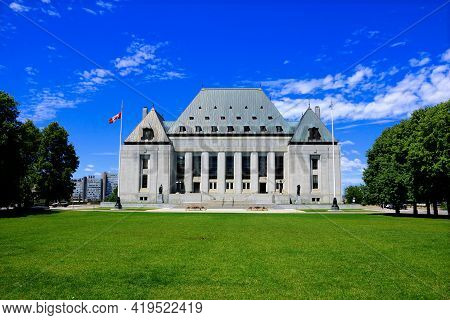 Supreme Court Of Canada Building Under Blue Skies, Ottawa, Ontario, Canada