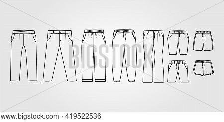 Pants, Trousers, Jeans Logo. Set Shorts, Trunks Icon Vector Illustration Design