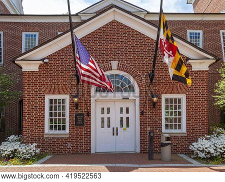 Close Up Isolated Image Of The Entrance Of Maryland State Senate Office Complex In A Beautiful Garde