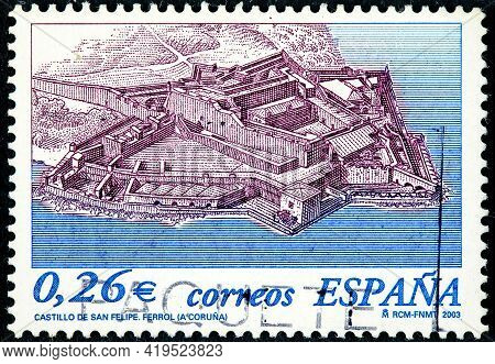 Spain - Circa 2003: A Stamp Printed In The Spain Shows San Felipe Castle In The Coastal Town Of Ferr