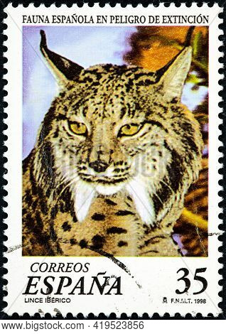 Spain - Circa 1998: A Stamp Printed In The Spain Shows The Iberian Lince, From The Endangered Animal