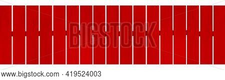 Panorama Of Red Hardwood Fence Isolated On A White Background