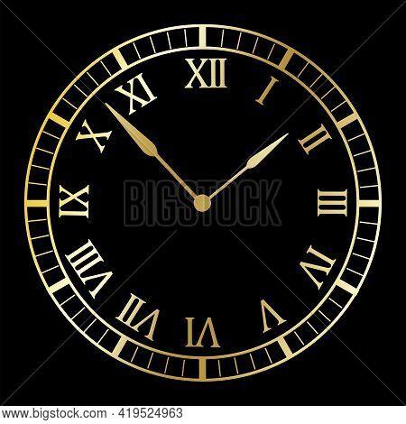 Watch, Time Icon. Clock Icon Vector. Arrow Icon. Clock Black Background. Stock Image. Vector Illustr