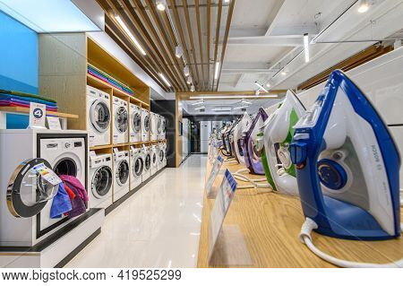 Chisinau, Moldova, May 2020: showroom of domestic appliance store with washing machines and other domestic devices, mostly from Bosch brand