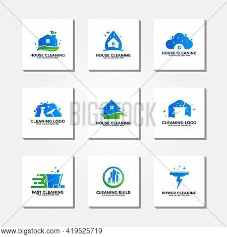 Cleaning Logo Vector Collection. Cleaning Service Logo. Cleaning House