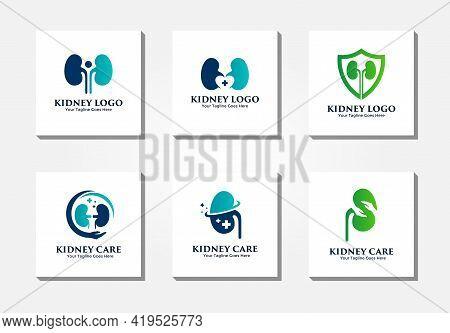 Modern Kidney Logo Vector Collection. Urology Logo Design Template Concept.