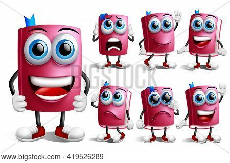 Book Characters Vector Set. Book School Supplies Character In Happy, Crying And Thinking Facial Expr