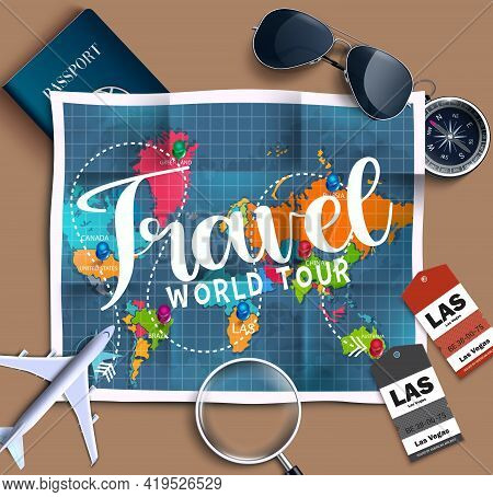 Travel World Tour Vector Design. Travel World Tour Text With Traveling Element Like Map, Airplane An
