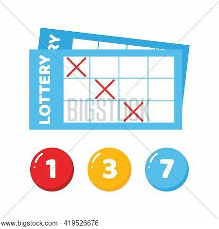 Lottery Tickets And Lottery Numbered Balls Vector Cute Colorful Illustration, Icons.