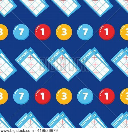 Lottery Tickets And Lottery Numbered Balls Colorful Vector Seamless Pattern Background.