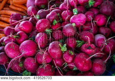 Fresh Organic Green Radish On Fresh Market,  Background. Radish Texture . A Lot Of Organic Radish  R
