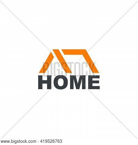 Text Home Geometric Simple Flat Design Symbol Vector