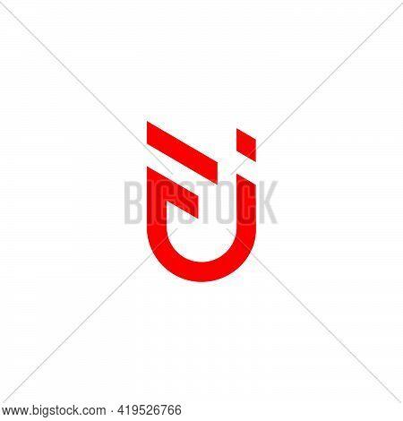 Abstract Letter Fj Simple Line Art Geometric Logo Vector