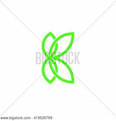 Abstract Letter K Green Leaf Flat Overlap Line Logo Vector