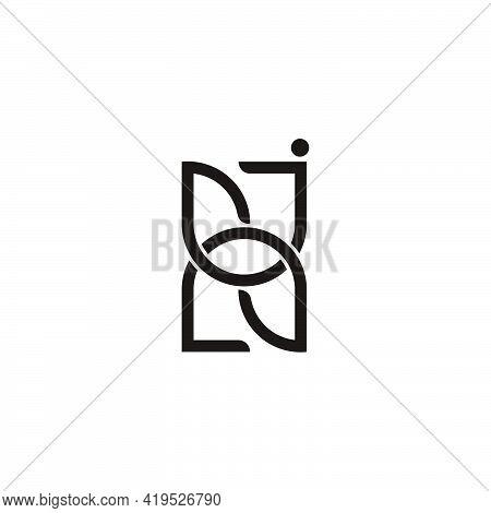 Letter Jn Linked Geometric Simple Logo Vector
