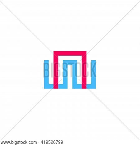 Letter Wn Simple Geometric Abstract Colorful Logo Vector