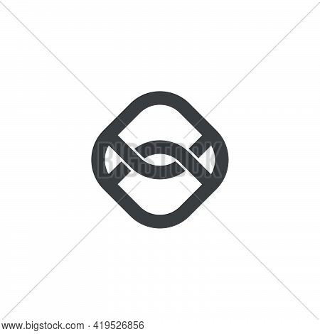 Linked Wires Square Geometry Logo Vector Unique Unusual Brand Identity Concept
