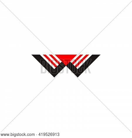 Letter W Triangle Colorful Geometric Simple Logo Vector