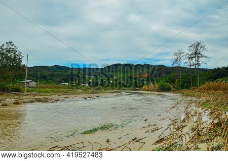 The Flood Of The Pegalan River Landscape Of Malaysia Rainforest Of Keningau,sabah Borneo,malaysia. G