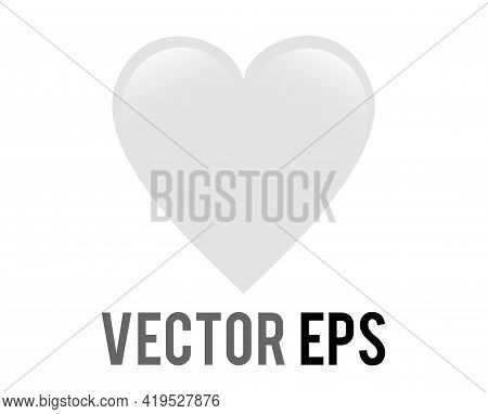 Vector Classic Love White Glossy Heart Icon, Used For Expressions Of Love Passion And Romance