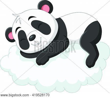 Vector Illustration Of Cartoon Baby Panda Sleeping On The Clouds