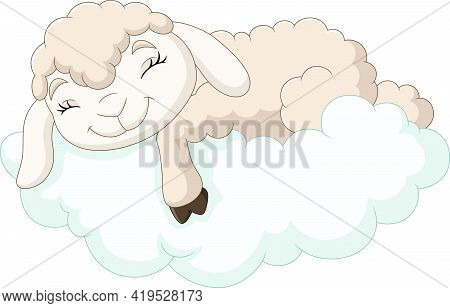 Vector Illustration Of Cartoon Baby Sheep Sleeping On The Clouds